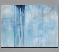 48x36 Abstract Art - Painting Light Blue - US Artist