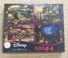 Thomas Kinkade Disney 4 in 1 Jigsaw Puzzle 500 piece Mickey Beauty Beast New!