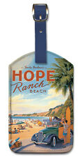 Leatherette Travel Luggage Tag Baggage Label - Hope Ranch Beach by K. Erickson