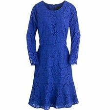 New J Crew Blue Fluted Lace Sheath dress long Slv XS 2 Cocktail Party Formal