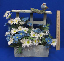 Wooden Window Box Silk Blue White Flowers Crackle Finish Faux Bird Wall Hanging