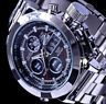 XL SKM Analog Digital Herren Armband Uhr Silber Farben Chronograph grünes Licht