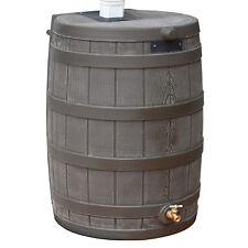 Good Ideas Rain Wizard 50 Gallon Plastic Rain Water Collection Barrel Drum, Oak