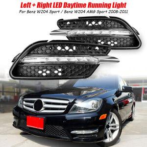 2x LED Daytime Running Lights DRL Fog lamp For Mercedes Benz C300 W204 AMG Sport