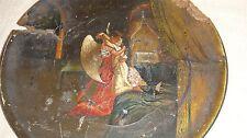 ANTIQUE RUSSIAN ART PALECH PALEKH COMMUNION PLATE PLATER  ANGEL  ICON CHRISTIAN