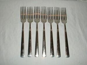 """7 Oneida Easton Glossy Stainless Dinner Forks 8 1/8"""" Cube Mark"""