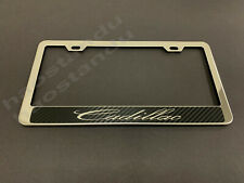 1xCadillacCF STAINLESS STEEL LICENSE PLATE FRAME HOLDER w/(Carbon Fiber Style)