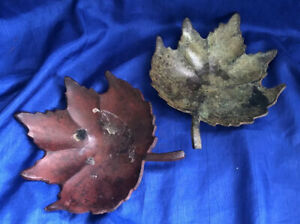 Set of 2 Metal Maple Leaf Candle Holders Centerpiece Plates Trays Vintage India