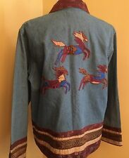 Coldwater Creek Wild Horse Appliques Denim Jacket Brocade Trim Button Down Sz M
