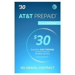 AT&T - AT&T Prepaid $30 Refill Top-Up Prepaid Card , AIR TIME  PIN / RECHARGE