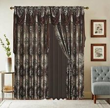Home Jacquard Window Curtain Drapes W/Attached Valance + Sheer Backing +Tassels.