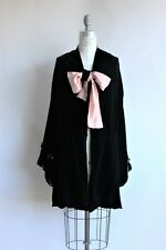 "Vintage 1990s Jane Booke Black Velvet ""jester"" coat w/pink silk lining, size Sm"