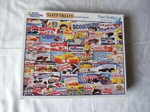 WHITE MOUNTAIN- TASTY TREATS JIGSAW PUZZLE-1000 PCS. - SNACK CAKES-COMPLETE