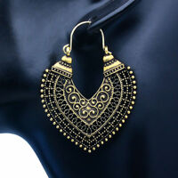 Women's Vintage Bohemian Boho Style Tibetan Carved Beads Tassel Dangle Earrings