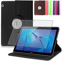 9H Hartglas Folie+ 360° Tasche Huawei MediaPad T3 10 Schutzhülle Smart Cover