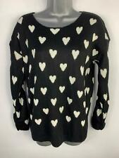 WOMEN QUIZ BLACK WHITE HEART CREW NECK CASUAL LONG SLEEVE JUMPER PULLOVER SIZE M