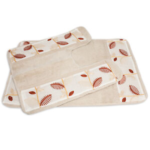 Banded Bath & Contour Rug Set Popular Bath Alysia Ivory Leaf Collection