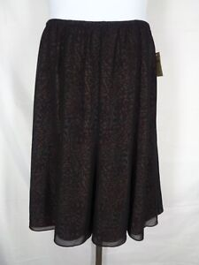 Coldwater Creek Skirt Medium 10-12 Black Red Sheer Overlay Abstract Print New