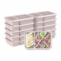 Bentgo Prep 2-Compartment Meal-Prep Containers 10 Trays & 10 Lids (Blush Pink)