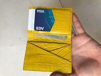 Crocodile Leather Credit Card Holder DOUBLE SIDE Genuine Alligator YELLOW/YELLOW