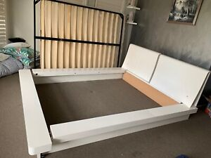 Queen bed, base, mattress, dressing table & 2 side tables