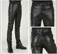 Fashion Mens Slim Fit Boot Cut Leather Motorcycle New Black Fall Pants Trousers