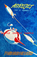 Vintage Disney ( Tomorrowland Astrojet ) Collector's Poster Print - B2G1F