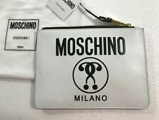 SS16 Moschino Couture Jeremy Scott White Leather Logo Clutch w/ QUESTION MARKS