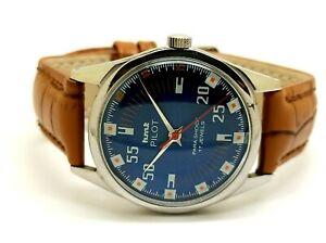 Hmt Pilot Hand Winding Men Steel Made India Vintage Watch 17 Jewels Run Order