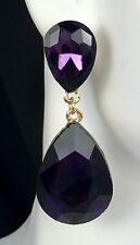 """So Pretty! 2"""" Purple Crystal Drop Earrings, Drag Queen, Prom, Bridal, Pageant"""