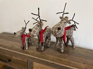 Reindeer Xmas Decor Christmas Checked Scandi Modern Trend Tartan Red Brown Set
