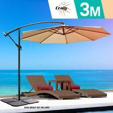 3m Beige Outdoor Umbrella Metal Garden Cantilever Patio Shade Base Steel Frame