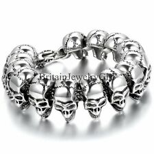Fashion Huge Heavy Skull Biker Men's Link Stainless Steel Cuff Bangle Bracelet