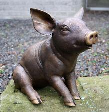 Bronzeskulptur süßes kleines Schwein Dekoration für Haus und Garten aus Bronze