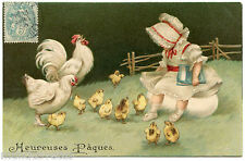 CHARMANTE PETITE FILLE. LOVELY GIRL. POUSSINS. POULE.HEN.CHICKS. GAUFRé.EMBOSSED