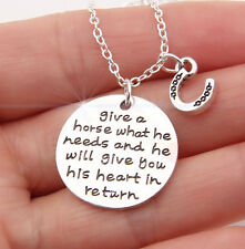 HORSE & WESTERN JEWELLERY JEWELRY LADIES  HORSE MESSAGE NECKLACE SILVER