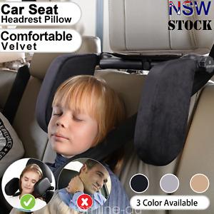 Adjustable Car Seat Pillow Headrest Soft Velvet Head Neck Support Travel Pad AU