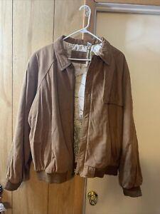 Vintage 90s Marlboro Adventure Team Map Lined Brown Leather Jacket Size L