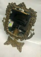 VINTAGE NEO CLASSICAL CAST BRASS ORNATE FLORAL VANITY TOP MAKE UP MIRROR