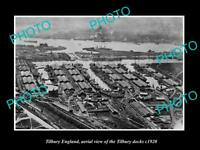 OLD LARGE HISTORIC PHOTO OF TILBURY ENGLAND, AERIAL VIEW OF THE DOCKS c1920 3