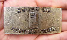 Vtg 7-UP VENDING MACHINE Belt Buckle SODA POP Bottle GOLD CLUB LOGO RARE VG++