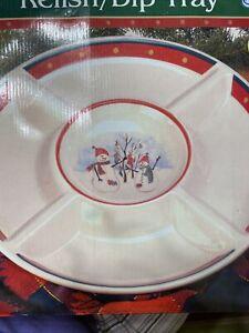 Royal Seasons Stoneware Relish Dip Tray Platter Snowman Christmas Serving Plate