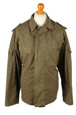 Vintage Mens Army Jacket 80s Coat Patterned Combat Field Retro G48 Olive - C2092