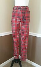 NWT Modcloth Skinny Jeans Size 25/1 Red Plaid High Rise Punk Skulls Tripp Pants