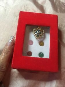 boxed heart Necklace 5 Interchangeable Semi Precious Stones 18K gold plated new