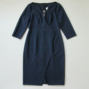 NWT Black Halo Oklahoma Sheath in Pacific Blue Slit Front Dress 14 $375