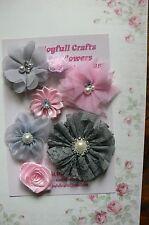 HANDMADE 7 Flower Mix PINK & GREY OrganzaSatinLace 20,35,60&70mm NjoyfullCrafts