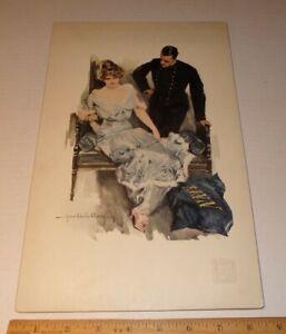 1914 Howard Chandler Christy Print US Navy Academy USNA Girl / Man Stamp Card