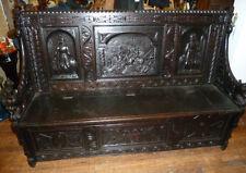 Vintage Carved Oak Hall Bench,Seat,Antique Furniture,Old,Carved Panels,Crusaders