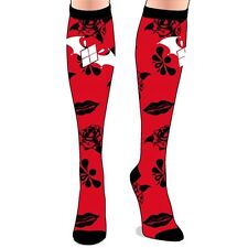 Official DC Batman Arkham Knight Knee High Red and Black Novelty Socks - New 4-7